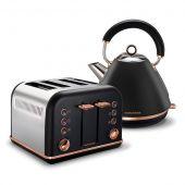 Morphy Richards 4 Slice Toaster & Kettle Pack - Black/Rose Gold
