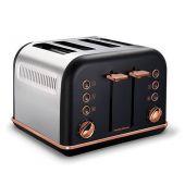 Morphy Richards Black/Rose Gold Accents 4 Slice Toaster - 242107